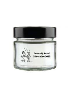 Personalised wedding jam jar